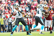 Landover, MD - October 14, 2018: Carolina Panthers quarterback Cam Newton (1) throws a pass during the  game between Carolina Panthers and Washington Redskins at FedEx Field in Landover, MD.   (Photo by Elliott Brown/Media Images International)