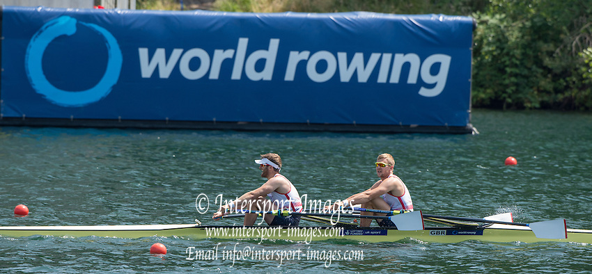 Lucerne, SWITZERLAND. GBR M2X, Bow, John COLLINS and Jonny WALTON, after crossing the finishing line. 2015 FISA World Cup III, Lake Rotsee,  13:53:43  Saturday  11/07/2015   [Mandatory Credit. Peter SPURRIER/Intersport Images. .   Empacher.