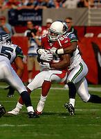 Nov. 6, 2005; Tempe, AZ, USA; Wide receiver (80) Bryant Johnson of the Arizona Cardinals against the Seattle Seahawks at Sun Devil Stadium. Mandatory Credit: Mark J. Rebilas