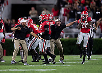 ATHENS, GA - SEPTEMBER 21: head coach Kirby Smart of the Georgia Bulldogs congratulates J.R. Reed after an interception during a game between Notre Dame Fighting Irish and University of Georgia Bulldogs at Sanford Stadium on September 21, 2019 in Athens, Georgia.