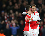 Arsenal's Laurent Koscielny celebrates scoring his sides opening goal with Mesut Ozil<br /> <br /> Barclays Premier League- Arsenal vs Leicester City  - Emirates Stadium - England - 10th February 2015 - Picture David Klein/Sportimage