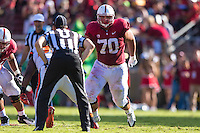 STANFORD, CA - OCTOBER 25, 2014:  Andrus Peat during Stanford's game against Oregon State. The Cardinal defeated the Beavers 38-14.