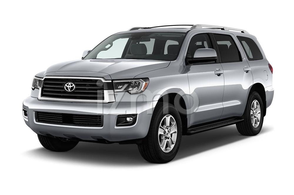 2018 Toyota Sequoia SR5 Auto 5 Door SUV angular front stock photos of front three quarter view