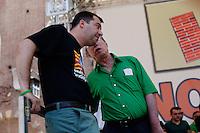 Verona: Umberto Bossi e Matteo Salvini durante la manifestazione organizzata dalla Lega Nord per protestare contro l'IMU la tassa sulla casa introdotta dal Governo Monti.