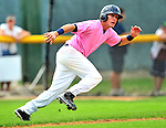 """18 July 2010: Vermont Lake Monsters outfielder Chad Mozingo in action against the Staten Island Yankees at Centennial Field in Burlington, Vermont. The Lake Monsters, dressed in their Breast Cancer Awareness """"Pinks"""", fell to the Yankees 9-5 in NY Penn League action. Mandatory Credit: Ed Wolfstein Photo"""