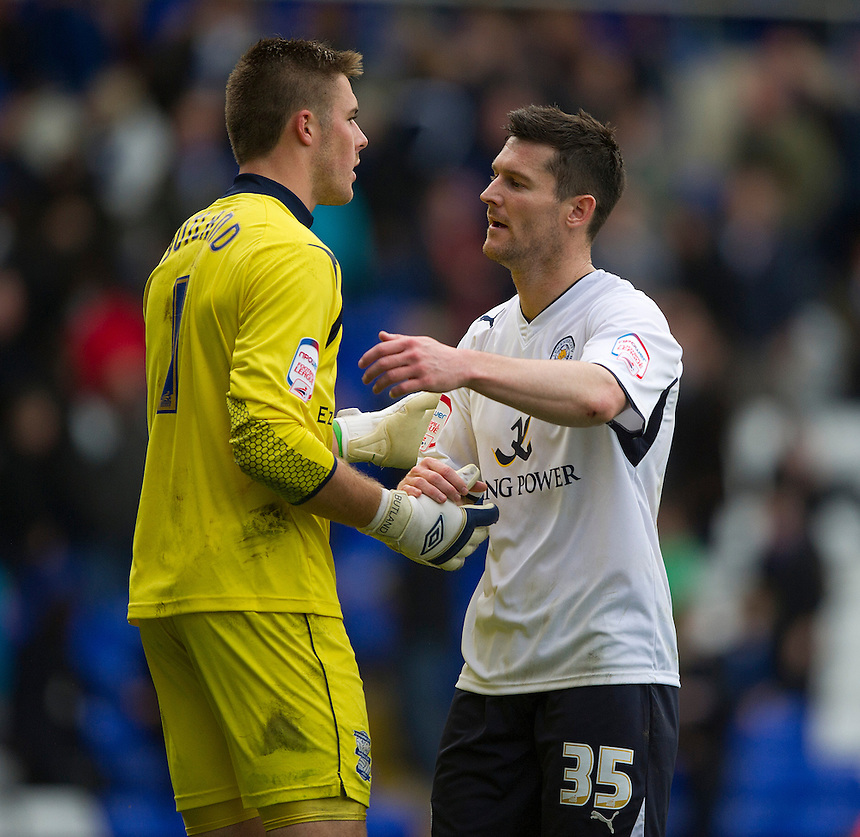 Leicester City's David Nugent comiserates with Birmingham City's goalkeeper Jack Butland at the final whistle after he conceded a late equaliser..Football - npower Football League Championship - Birmingham City v Leicester City - Saturday 20th October 2012 - St Andrews - Birmingham..