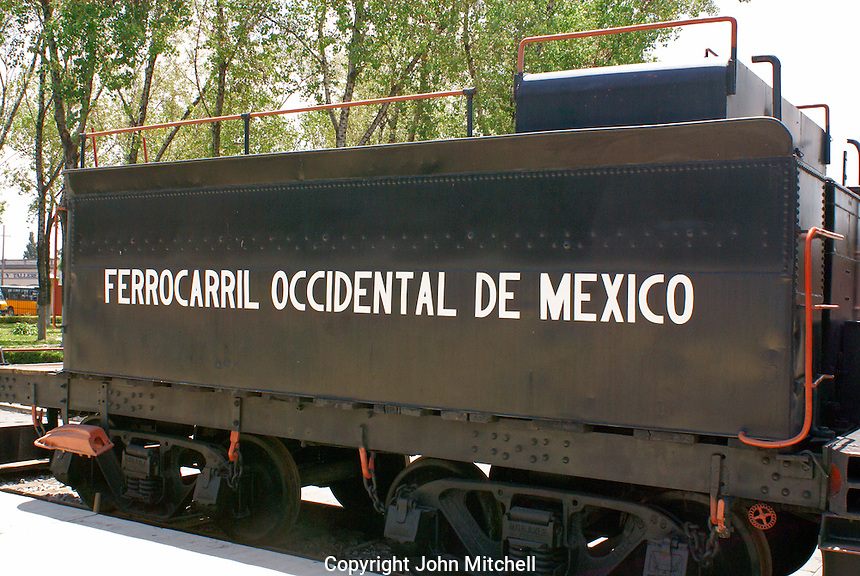 Coal car or tender, Museo Nacional de los Ferrocarriles Mexicanos or National Railway Museum in the city of Puebla, Mexico