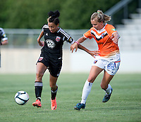 Lianne Sanderson (10) of the D.C. United Women holds off Shelly Lyle (88) of the Charlotte Lady Eagles during the game at the Maryland SoccerPlex in Boyds, Maryland.  The D.C. United Women defeated the Charlotte Lady Eagles, 3-0, to win the W-League Eastern Conference Championship.
