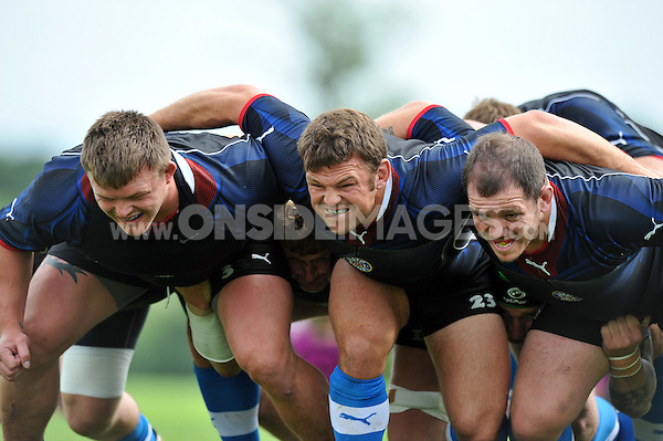 The Bath front row of David Wilson, Lee Mears and Paul James look to practise their scrummaging. Bath Rugby training session on August 21, 2012 at Farleigh House in Bath, England. Photo by: Patrick Khachfe/Onside Images