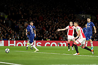 5th November 2019; Stamford Bridge, London, England; UEFA Champions League Football, Chelsea Football Club versus Ajax; Donny van de Beek of Ajax celebrates his goal before it goes in for 1-4 in the 55th minute - Editorial Use