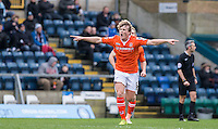 Cameron McGeehan (8) of Luton Town celebrates scoring the first goal during the Sky Bet League 2 match between Wycombe Wanderers and Luton Town at Adams Park, High Wycombe, England on 6 February 2016. Photo by Andy Rowland.