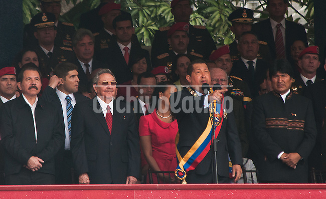 Venezuela: Caracas,04/02/12 .(L-R) Nicaragua's President Daniel Ortega, Cuba's President Raul Castro, Venezuela's President Hugo Chavez and Bolivia's president Evo Morales  during a military parade in Caracas, Venezuela. Chavez canmemorated 20 years of his failed coup in 1992 with a parade of military forces..Carlos Hernandez/Archivolatino