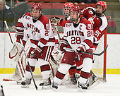 Michael Biega (Harvard - 27), ?, Chris Huxley (Harvard - 28), Mark Armstrong (St. Lawrence - 95) - The Harvard University Crimson defeated the St. Lawrence University Saints 4-3 on senior night Saturday, February 26, 2011, at Bright Hockey Center in Cambridge, Massachusetts.