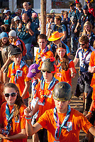 Scouts from the Netherlands heading for the arena event on time road. Photo: André Jörg/ Scouterna