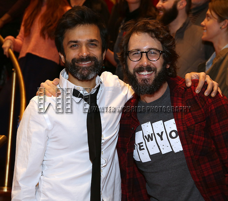 Nick Choksi and Josh Groban during the Broadway Opening Night Actors' Equity Gypsy Robe Ceremony honoring Katrina Yaukey  for  'Natasha, Pierre & The Great Comet Of 1812' at The Imperial Theatre on November 14, 2016 in New York City.