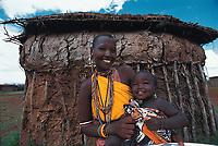 Arami, a Maasai woman and her baby, Tajiri. Looloomeei Maasai Village, Kenya.