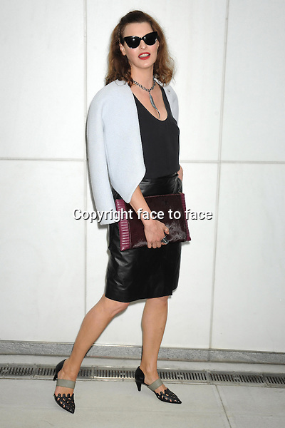 NEW YORK, NY - SEPTEMBER 11: Linda Evangelista seen outside of the Proenza Schouler Spring 2014 Fashion Show in Midtown Manhattan during New York Fashion Week in New York, NY. September 11, 2013. <br />