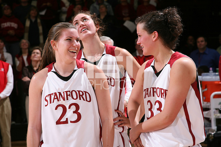 28 December 2007: Jeanette Pohlen, Morgan Clyburn and Jillian Harmon after Stanford's 105-47 win over Washington State at Maples Pavilion in Stanford, CA.