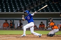 AZL Cubs center fielder Chris Singleton (16) follows through on his swing against the AZL Giants on July 17, 2017 at Sloan Park in Mesa, Arizona. AZL Giants defeated the AZL Cubs 12-7. (Zachary Lucy/Four Seam Images)