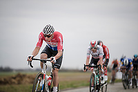 Mathieu Van Der Poel (NED/Correndon-Circus) leading the way over the cobbles<br /> <br /> 74th Nokere Koerse 2019 <br /> One day race from Deinze to Nokere / BEL (196km)<br /> <br /> ©kramon