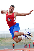 Jamal White (cq) of South Garland High School stretches for distance in the Boys Long Jump during the Eddie Payne Relays track and field event at John E. Kincaide Stadium in Dallas, Texas, Saturday, March 29, 2008. His jump was measured at 21 feet 11 inches...MATT NAGER/ SPECIAL CONTRIBUTER