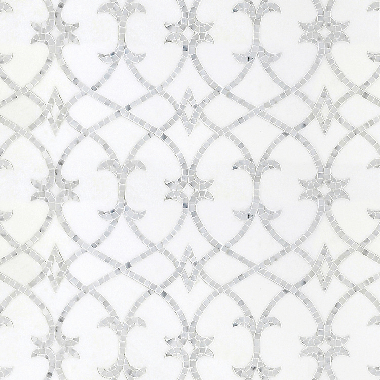Avila, a waterjet and hand-cut stone mosaic, shown in honed Thassos and polished Statuarietto, is part of the Miraflores Collection by Paul Schatz for New Ravenna.