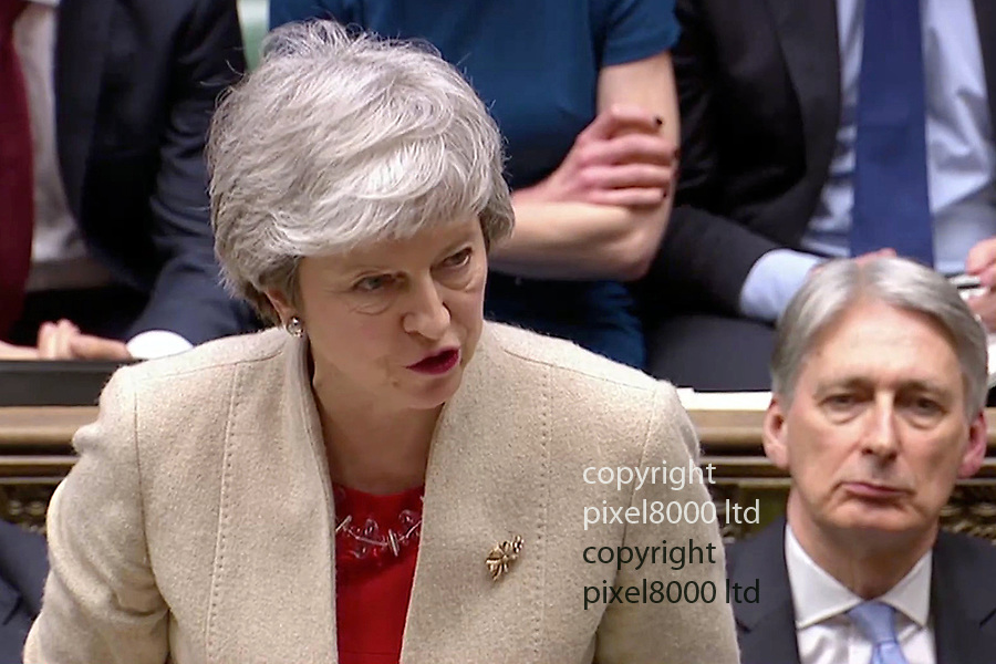 Pic shows: Commons 29.3.19<br /> Meaningful vote 3 is lost yet again.<br /> <br /> Theresa May looked downcast as she faced calls for an election from Jeremy Corbyn<br /> and revoke A50 from Ian Blackford<br /> <br /> <br /> <br /> supplied by Pixel8000 Ltd