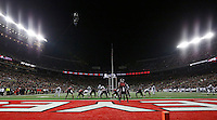 Lights illuminate the field as the Ohio State Buckeyes play the Penn State Nittany Lions during the first half of the nighttime NCAA football game at Ohio Stadium in Columbus on Oct. 17, 2015. Ohio State won 38-10. (Adam Cairns / The Columbus Dispatch)