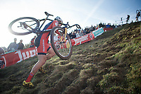 Grant Ellwood (USA) up &quot;Le Mur&quot; de Francorchamps (50% gradient!)<br /> <br /> Superprestige Francorchamps 2014