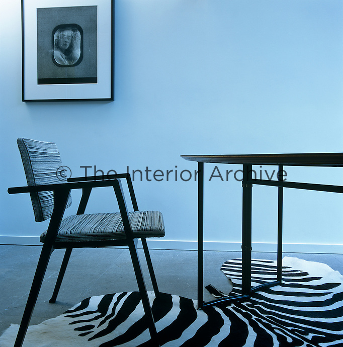 A black and white photograph hangs on the pale blue walls of the study which has a zebra-skin rug on the stone floor
