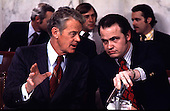 Washington, DC - undated file photo c.1973  - United States Senator Edward J. Gurney (Republican of Florida) has a question for Minority Counsel Fred Thompson during Senate Watergate Committee testimony during the Summer of 1973..Credit: CNP