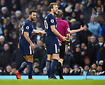 Mousa Dembele of Tottenham Hotspur shouts at referee Craig Pawson during the premier league match at the Etihad Stadium, Manchester. Picture date 16th December 2017. Picture credit should read: Robin ParkerSportimage