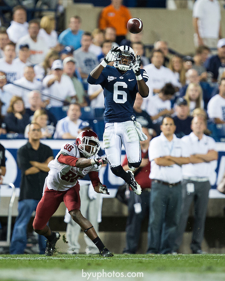 Jordan Johnson INT_87R5711..12FTB vs Washington State..Photo by Jaren Wilkey/BYU..August 30, 2012..© BYU PHOTO 2012.All Rights Reserved.photo@byu.edu  (801)422-7322