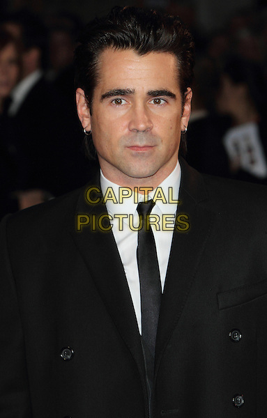 Colin Farrell<br /> BFI London Film Festival Closing Gala and World Premiere of 'Saving Mr Banks' at the Odeon Leicester Square, London, England.<br /> October 20th 2013<br /> headshot portrait black suit tie white shirt  <br /> CAP/ROS<br /> &copy;Steve Ross/Capital Pictures