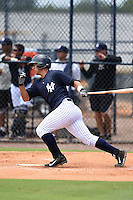 GCL Yankees 2 catcher Jake Hernandez (59) at bat during a game against the GCL Braves on June 23, 2014 at the Yankees Minor League Complex in Tampa, Florida.  GCL Yankees 2 defeated the GCL Braves 12-4.  (Mike Janes/Four Seam Images)