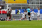 16.03.2019, BWT-Stadion am Hardtwald, Sandhausen, GER, 2. FBL, SV Sandhausen vs FC St. Pauli, <br /> <br /> DFL REGULATIONS PROHIBIT ANY USE OF PHOTOGRAPHS AS IMAGE SEQUENCES AND/OR QUASI-VIDEO.<br /> <br /> im Bild: Andrew Wooten (7, SV Sandhausen) trifft das Tor zum 1:0 und jubelt<br /> <br /> Foto &copy; nordphoto / Fabisch