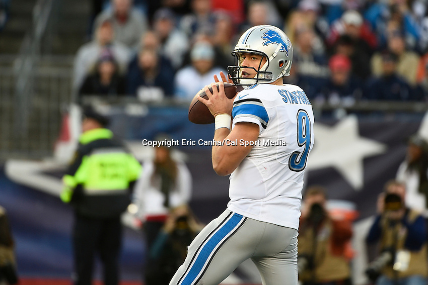 November 23, 2014 - Foxborough, Massachusetts, U.S.-  Detroit Lions quarterback Matthew Stafford (9) in game action during the NFL game between the Detroit Lions and the New England Patriots held at Gillette Stadium in Foxborough Massachusetts. The Patriots defeated the Lions 34-9. Eric Canha/CSM