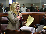 Nevada Assemblywoman Michele Fiore, R-Las Vegas, speaks during Assembly floor debate at the Legislative Building in Carson City, Nev., on Sunday, May 31, 2015.  <br /> Photo by Cathleen Allison
