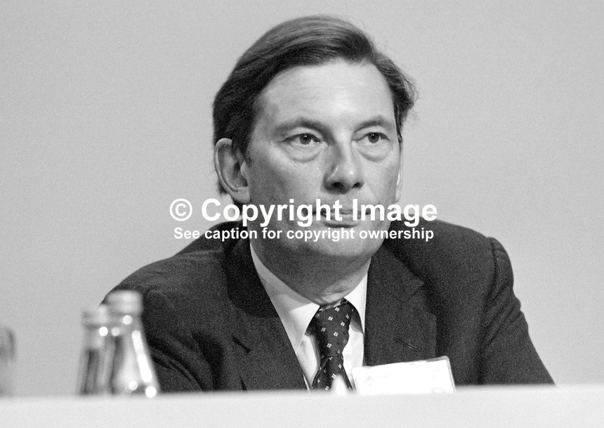 Paul Channon, MP, Conservative Party, UK, Minster of State Trade &amp; Industry, platform, annual conference, 1984. 19840145PC3.<br /> <br /> Copyright Image from Victor Patterson, 54 Dorchester Park, Belfast, UK, BT9 6RJ<br /> <br /> t1: +44 28 9066 1296 (from Rep of Ireland 048 9066 1296)<br /> t2: +44 28 9002 2446 (from Rep of Ireland 048 9002 2446)<br /> m: +44 7802 353836<br /> <br /> e1: victorpatterson@me.com<br /> e2: victorpatterson@gmail.com<br /> <br /> The use of any of my copyright images is subject to my Terms &amp; Conditions.<br /> <br /> It is IMPORTANT that you familiarise yourself with them. They are available on my website, victorpatterson.com.<br /> <br /> None of my copyright images may be used on the Internet unless they are visibly watermarked, i.e. &copy; Victor Patterson in the body of the image. Additionally metadata denoting my copyright must NOT be deleted. <br /> <br /> Web use is extra at the current recommended NUJ rates.