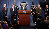 United States President Barack Obama delivers a statement on the counter-ISIL campaign in the Pentagon briefing room December 14, 2015 in Arlington, Virginia. President Obama met previously with a National Security Council on the counter-ISIL campaign.  Pictured from left, US Vice President Joe Biden, US Secretary of Defense Ash Carter, Commander of US Central Command General Lloyd Austin, Commander of US Special Operations Command General Joseph Votel, Chairman of the Joint Chiefs of Staff General Joseph Dunford, and Joint Chiefs Vice Chairman General Paul Selva.<br /> Credit: Olivier Douliery / Pool via CNP