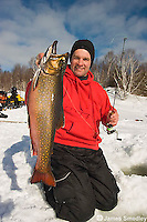 Ice fishing for winter brook trout