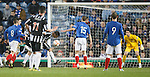 Stewart Leslie heads the ball in to score for Elgin after Neil Alexander slipped the ball into his own net