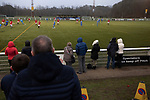 Gala Fairydean Rovers 4, Gretna 1, 25/01/2020. Netherdale, Scottish Lowland League. Spectators watching the action during the second-half as Gala Fairydean Rovers (in red) host Gretna 2008 in a Scottish Lowland League match at Netherdale, Galashiels. The home club were established in 2013 through a merger of Gala Fairydean, one of Scotland's most successful non-League clubs, and local amateur club Gala Rovers. The visitors were a 'phoenix' club set up in the wake of the collapse of the original club, which had competed for a short time in the 2000s before going bankrupt. The home aside won this encounter 4-1 watched by a crowd of 120. Photo by Colin McPherson.