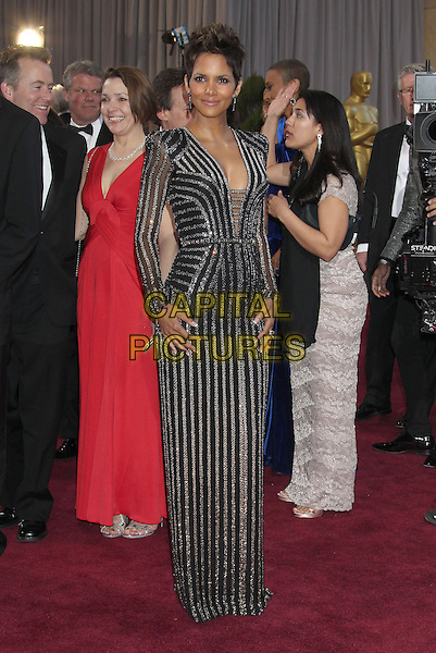 Halle Berry.85th Annual Academy Awards held at the Dolby Theatre at Hollywood & Highland Center, Hollywood, California, USA..February 24th, 2013.oscars full length black gold silver striped stripes dress long sleeves cleavage.CAP/ADM/RE.©Russ Elliot/AdMedia/Capital Pictures.