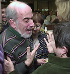 Champagne get together of Newsday staff in the City room to toast the departure of colleagues on Friday March 1, 2002. (Newsday photo by Jim Peppler).