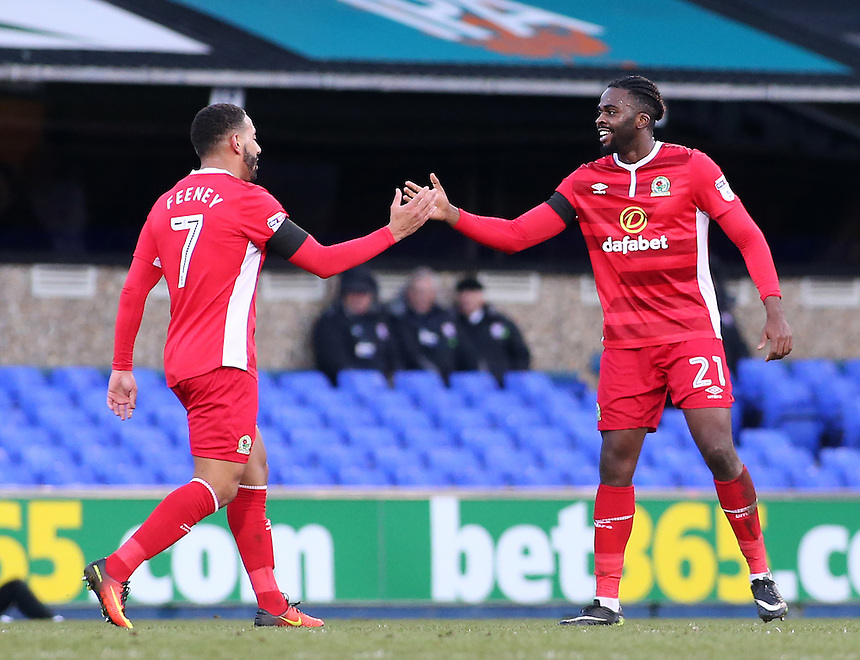Blackburn Rovers' Hope Akpan celebrates scoring his sides equalising goal to make the score 1-1 with  Liam Feeney<br /> <br /> Photographer David Shipman/CameraSport<br /> <br /> The EFL Sky Bet Championship - Ipswich Town v Blackburn Rovers - Saturday 14th January 2017 - Portman Road - Ipswich<br /> <br /> World Copyright &copy; 2017 CameraSport. All rights reserved. 43 Linden Ave. Countesthorpe. Leicester. England. LE8 5PG - Tel: +44 (0) 116 277 4147 - admin@camerasport.com - www.camerasport.com
