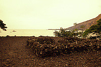 The stone walls of the Hikiau Heiau (sacred Native Hawaiian temple) on Kealakekua Bay on the Big Island of Hawaii.