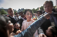Burmese pro-democracy leader AUNG SAN SUU KYI to arrives at the Grand Hotel in Oslo as she helds her first official diplomatic visit away from her country after 15 years of home arrest. She visits Switzerland, Norway, Ireland, Britain and France from June 13 to June 29 2012.