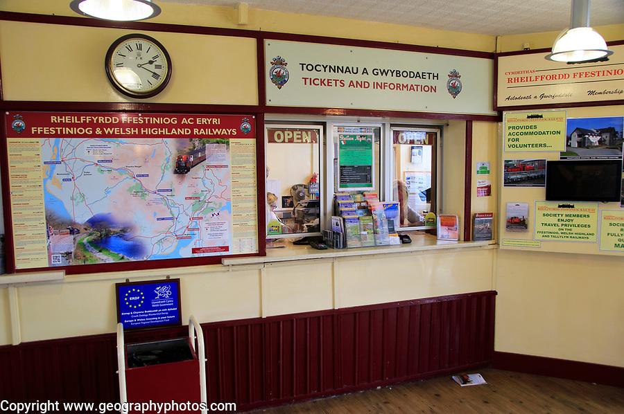 Ffestiniog and Welsh Highland Railway ticket office, Porthmadog, Gwynedd, north west Wales, UK