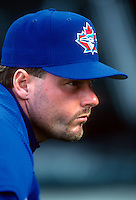 Roger Clemens of the Toronto Blue Jays during a game at Anaheim Stadium in Anaheim, California during the 1997 season.(Larry Goren/Four Seam Images)